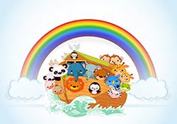 noah ark and rainbow